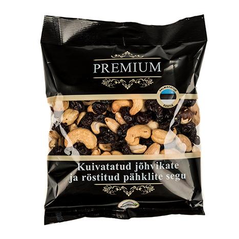 röstitud pähkel ja kuivatatud suhkrustatud jõhvikad